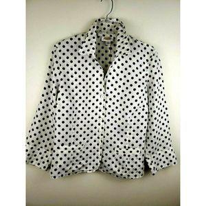 Talbots Linen Blouse Jacket Polka Dots Button Up